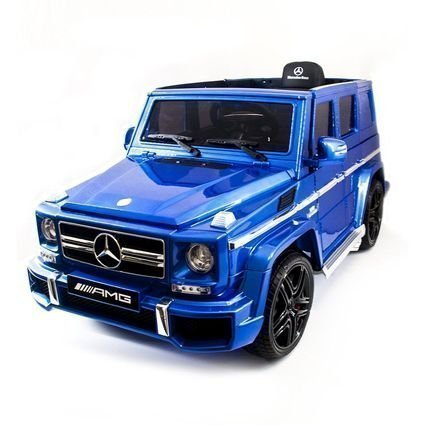 Электромобиль Mercedes-Benz G63 AMG синий глянец (колеса резина, сиденье кожа, пульт, музыка, черные диски)