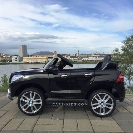 Электромобиль Mercedes Benz ML350 черный (колеса резина, сиденье кожа, пульт, музыка)