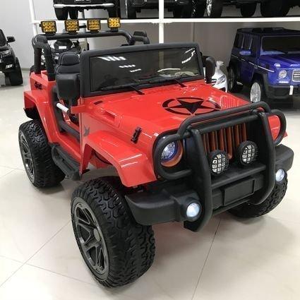 Электромобиль Jeep Wrangler 4WD WXE1688 красный (2х местный, полный привод, колеса резина, сиденье кожа, пульт, музыка)